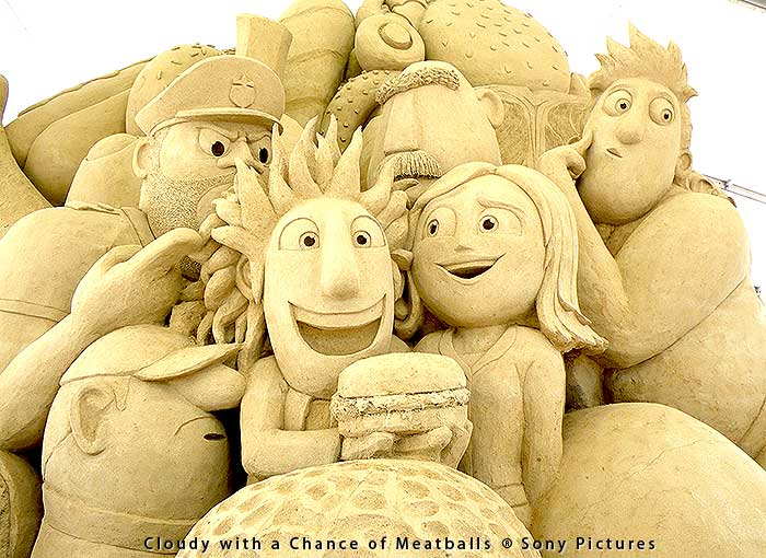 Cloudy with a Chance of Meatballs sand sculpture